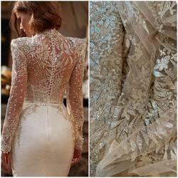 VL -246 skin/silver , ivory/silver - haft na tiulu dostępny na www.scarlett.pl 🛒. Inspiracją jest suknia z kolekcji Millanova ❤️#lace #weddingdress #lacefabrics #lacefebric #weddinginspiration #koronkislubne #tkaninyslubne #bride