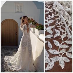 🌿 Piękne listki zdobione koralikami i cekinami wyszywane na lekko rozciągliwym tiulu.. RICCA SPOSA zaprezentowała suknie z tym wzorem w kolekcji na sezon 2021 ❤️ #lace #lacedress #lacebride #laceinspiration #bride #weddingdress #wedding #weddinginspirasi #koronkislubne #tkaninyslubne #scarlett #warszawa #hurtowniatkanin